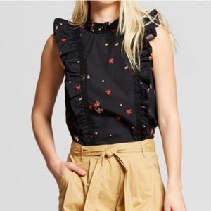 Who What Wear Black Floral Ruffle Top